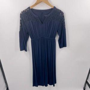Isabel Maternity | Navy, Lace Midi Dress xs